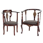 Empire Style Tub Chairs With Carved Accents and Upholstered Seats