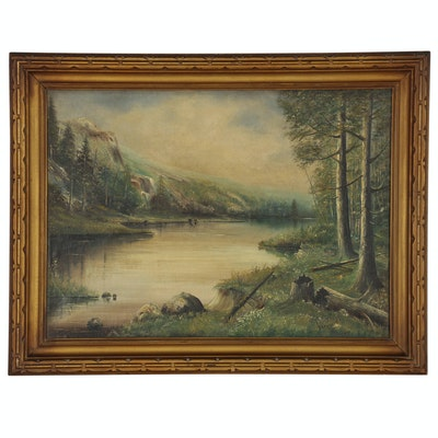 River Valley Landscape Oil Painting, Early 20th Century