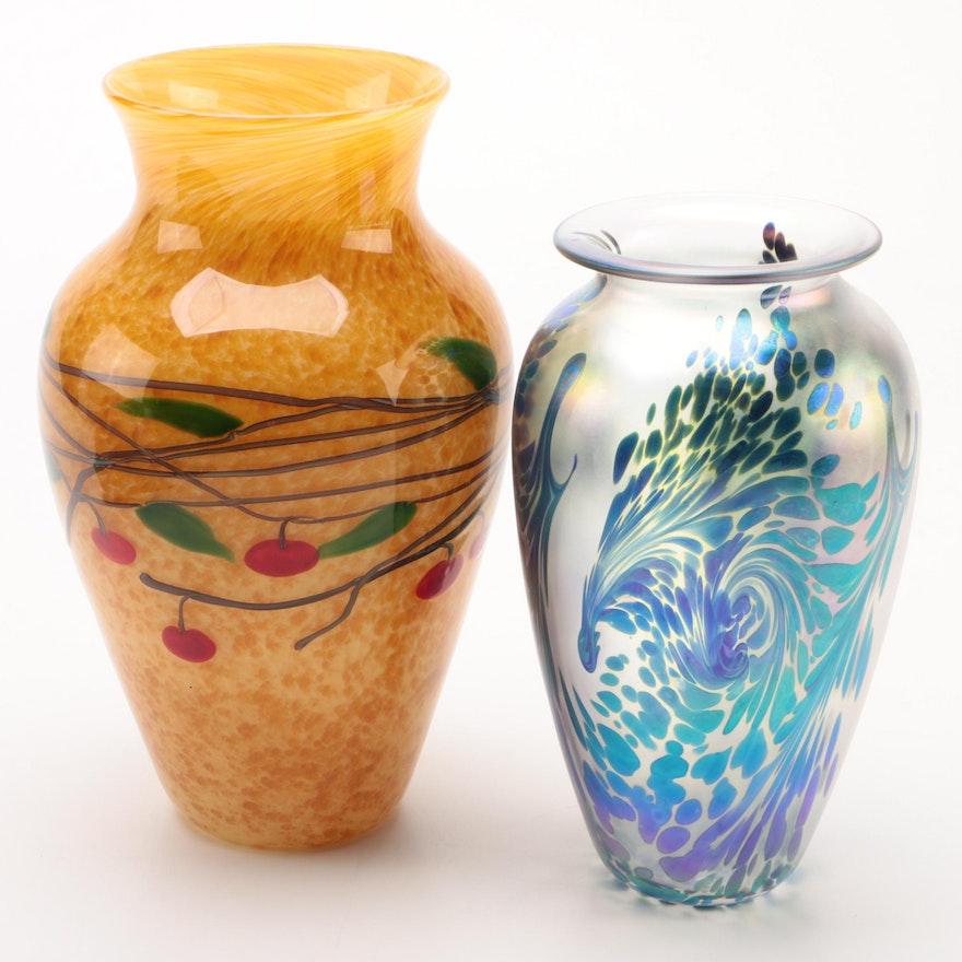 Robert Eickholt and Zellique Studio Blown Art Glass Vases