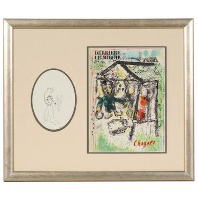 """Marc Chagall Color Lithograph Cover for """"Derrière le Miroir"""", 1969"""
