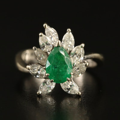 14K Emerald and 1.04 CTW Diamond Ring
