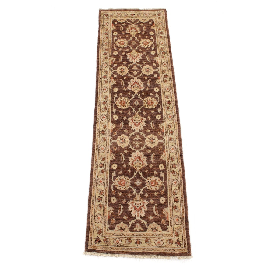 2'7 x 9'3 Hand-Knotted Afghani Persian Tabriz Rug Runner, 2000s