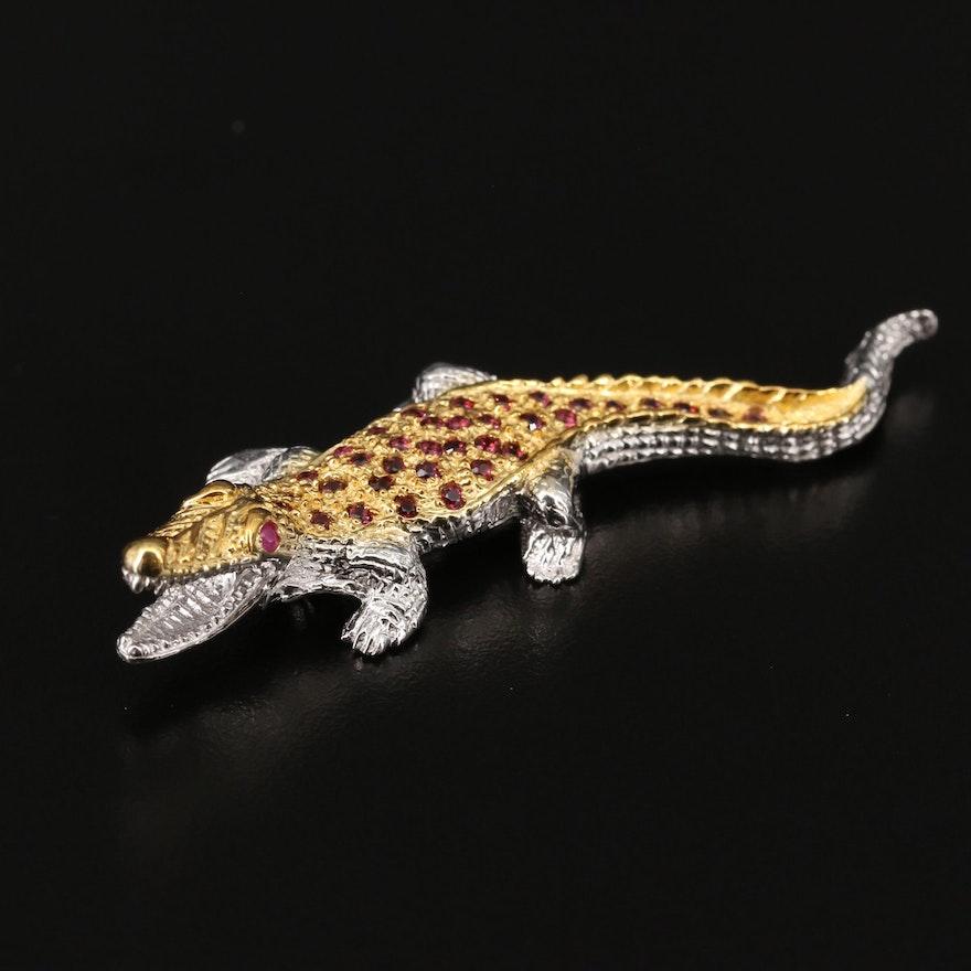 Sterling Silver Crocodile Brooch with Rhodolite Garnets and Rubies
