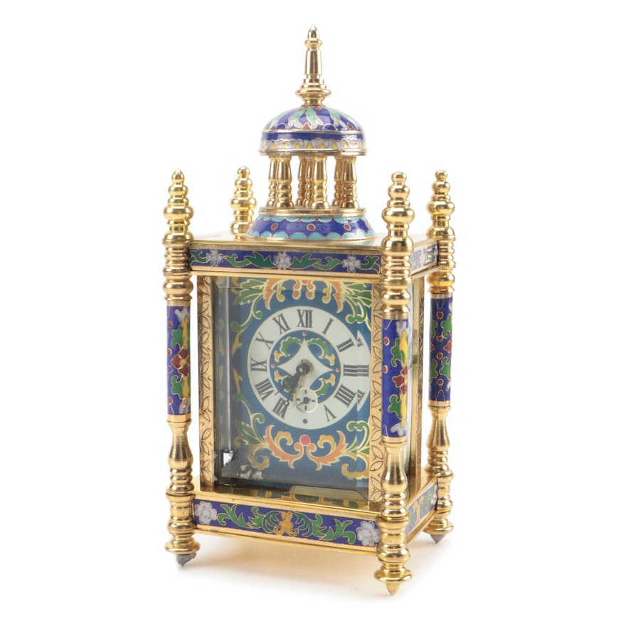 Chinese Cloisonné Brass and Enamel Clock, Mid to Late 20th Century
