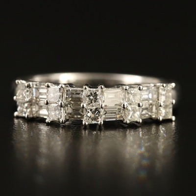 18K Diamond Double Row Ring