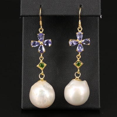 Sterling Silver Pearl, Tanzanite and Diopside Floral Dangle Earrings
