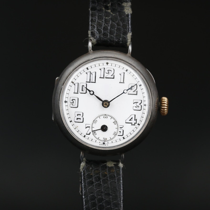 Antique A. Douard Sterling Silver Swiss Stem Wind Trench Wristwatch