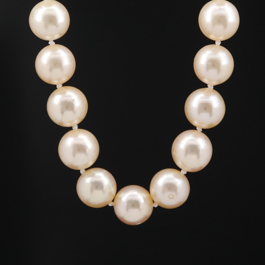Knotted Pearl Strand Necklace with 14K Clasp