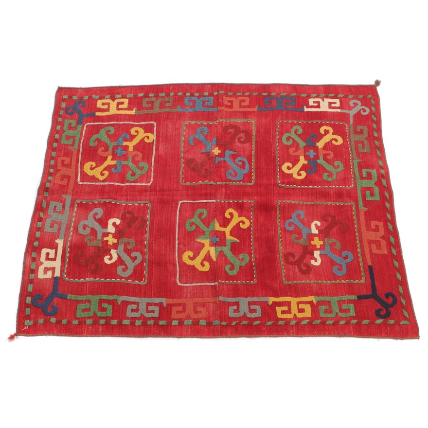 4'8 x 5'8 Handwoven Uzbek Embroidered Rug, 1950s