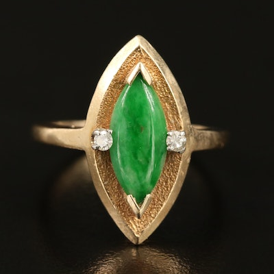 14K Jadeite Navette Ring with Diamond Accents