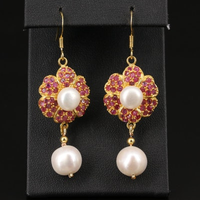 Sterling Silver Pearl and Ruby Earrings with Flower Motif