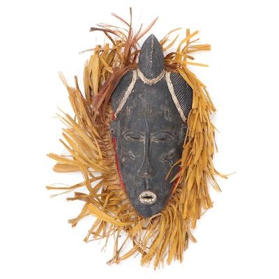 Baule Inspired Carved Wood Mask, West Africa