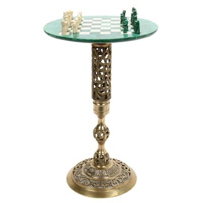 Malachite Veneer and Soapstone Reticulated Brass Chess Stand and Pieces