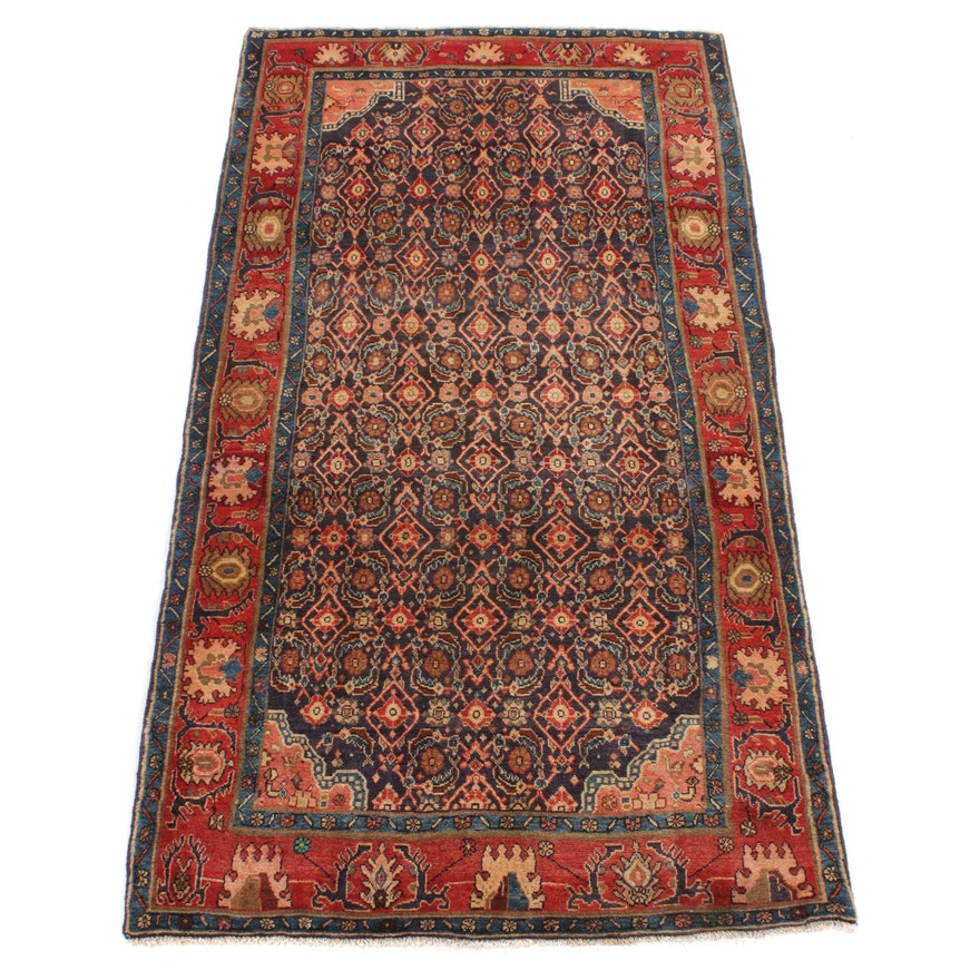 4'6 x 8'5 Hand-Knotted Persian Bidjar Wide Rug Runner, 1970s