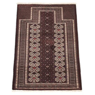 2'9 x 4'2 Hand-Knotted Persian Turkmen Prayer Rug, 1980s