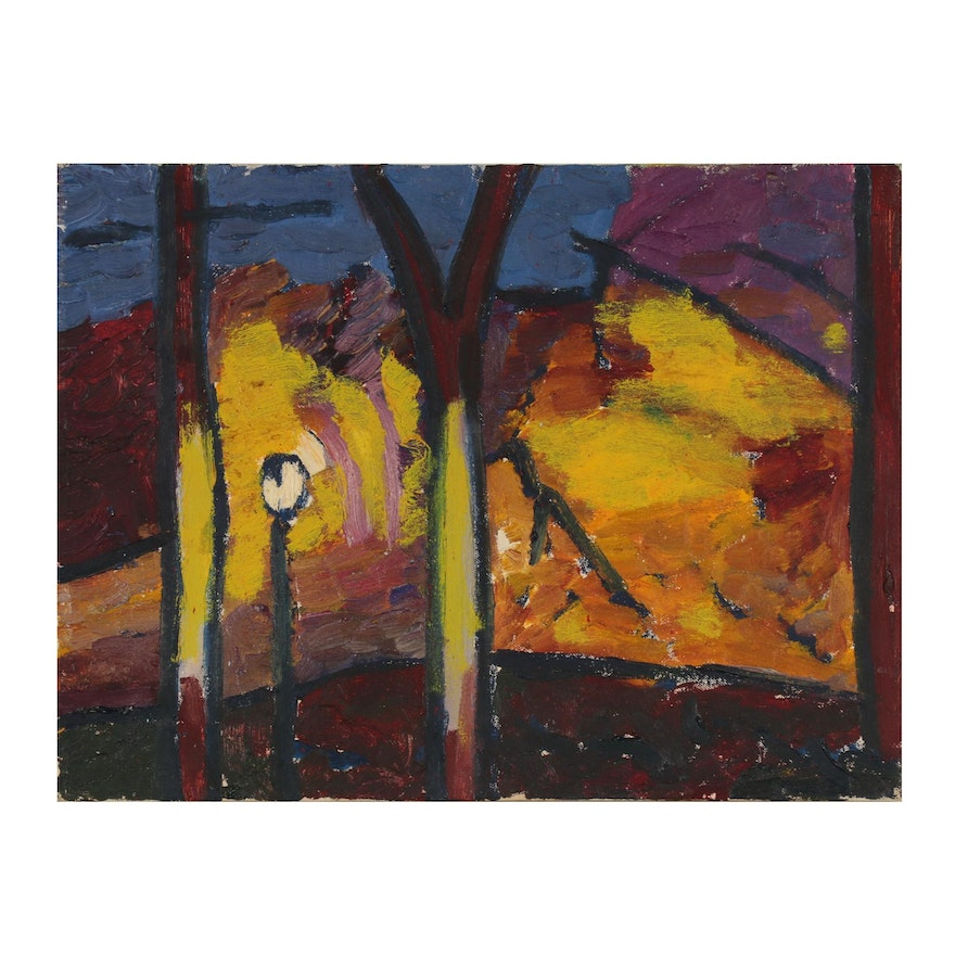 Jerald Mironov Fauvist Style Landscape Oil Painting