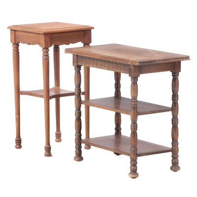Two Side Tables in Mixed Woods, Including Imperial Furniture Co., 20th Century