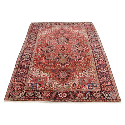 8'7 x 11'9 Hand-Knotted Persian Heriz Room Sized Rug, 1930s