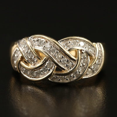 10K Diamond Woven Ring
