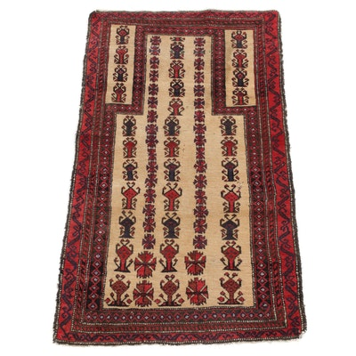 2'11 x 5' Hand-Knotted Persian Balouch Rug, 1920s