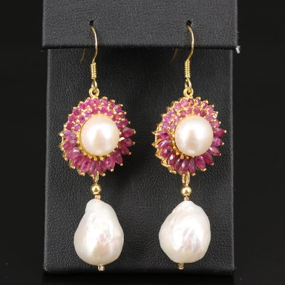 Sterling Ruby and Pearl Dangle Earrings