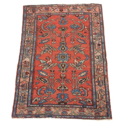 3'5 x 4'11 Hand-Knotted Persian Lilihan Rug, 1920s
