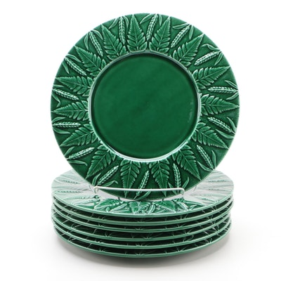 Ceramiche Artistiche Ancora Green Majolica Plates, Late 20th Century