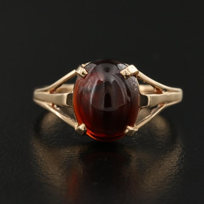 14K Oval Cabochon Garnet Ring