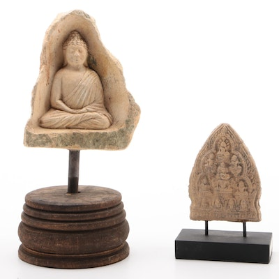 South Asian Style Buddhist Stone Votive Tablets, 19th to 20th Century