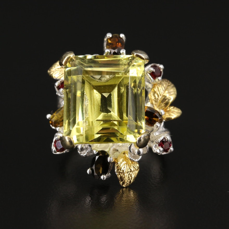 Sterling Foliate Citrine Ring with Garnet and Tourmaline