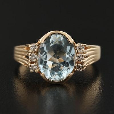 14K Aquamarine Ring with Diamond Accents