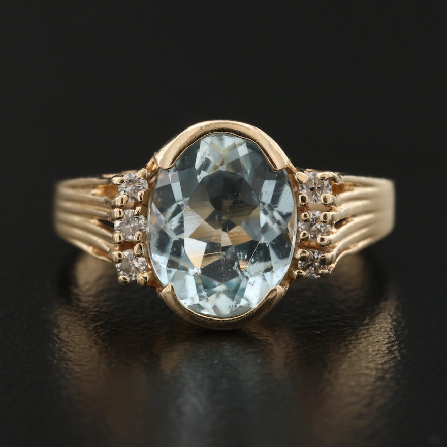 14K Aquamarine Ring with Diamond Accents