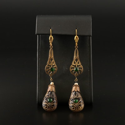 Art Nouveau Style Glass Dangle Earrings
