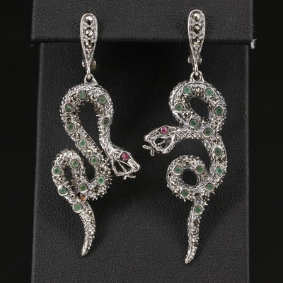 Sterling Silver Snake Earrings with Emeralds, Marcasite and Rubies
