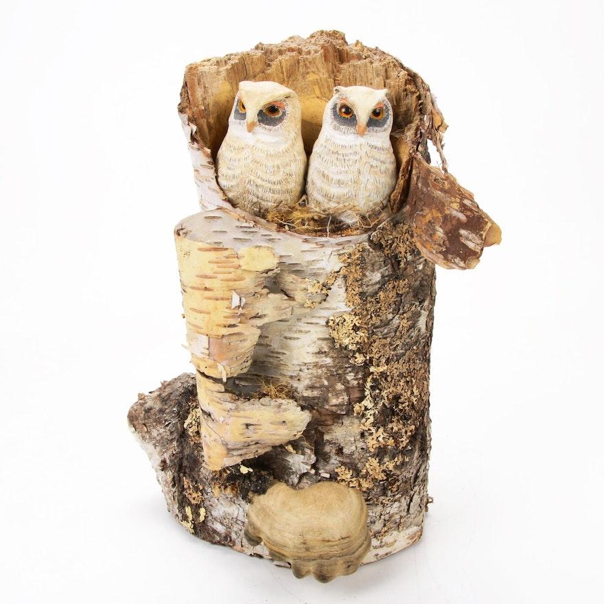 Nesting Owls in Natural Birch Log Carved Wood Sculpture