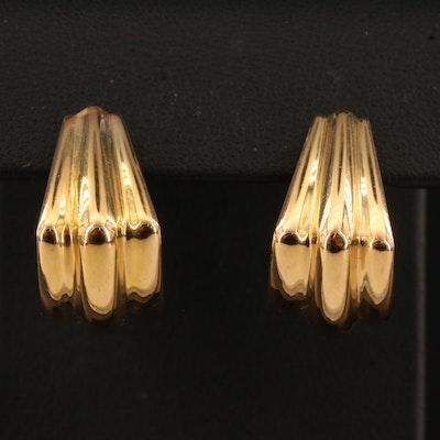 14K Ribbed Hoop Earrings