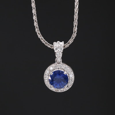 18K Sapphire and Diamond Pendant on 14K Rope Style Chain