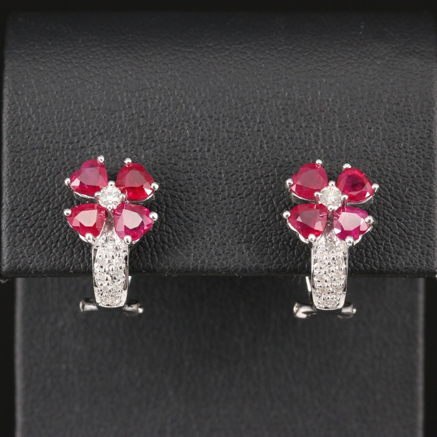 14K Ruby and Diamond Floral Motif Drop Earrings