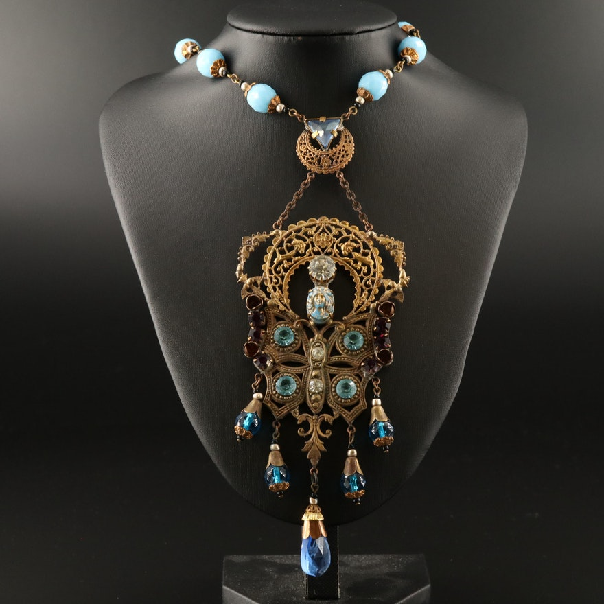 Art Nouveau Pendant Necklace Featuring Faceted Glass Accents