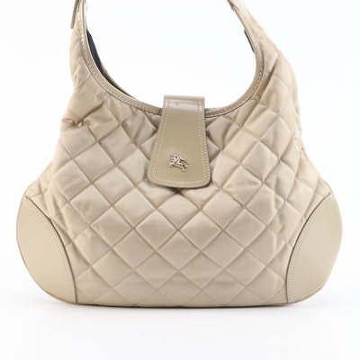 Burberry Brooke Beige Quilted Nylon and Leather Hobo Bag