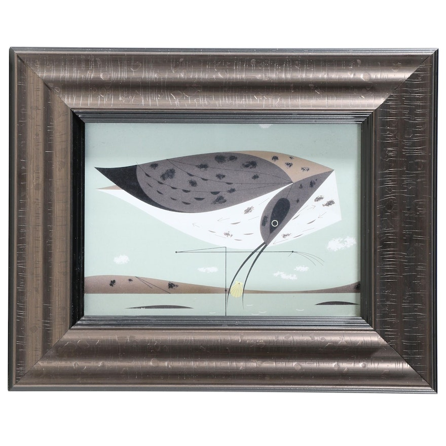 "Offset Lithograph After Charley Harper ""Eskimo Curlew"""