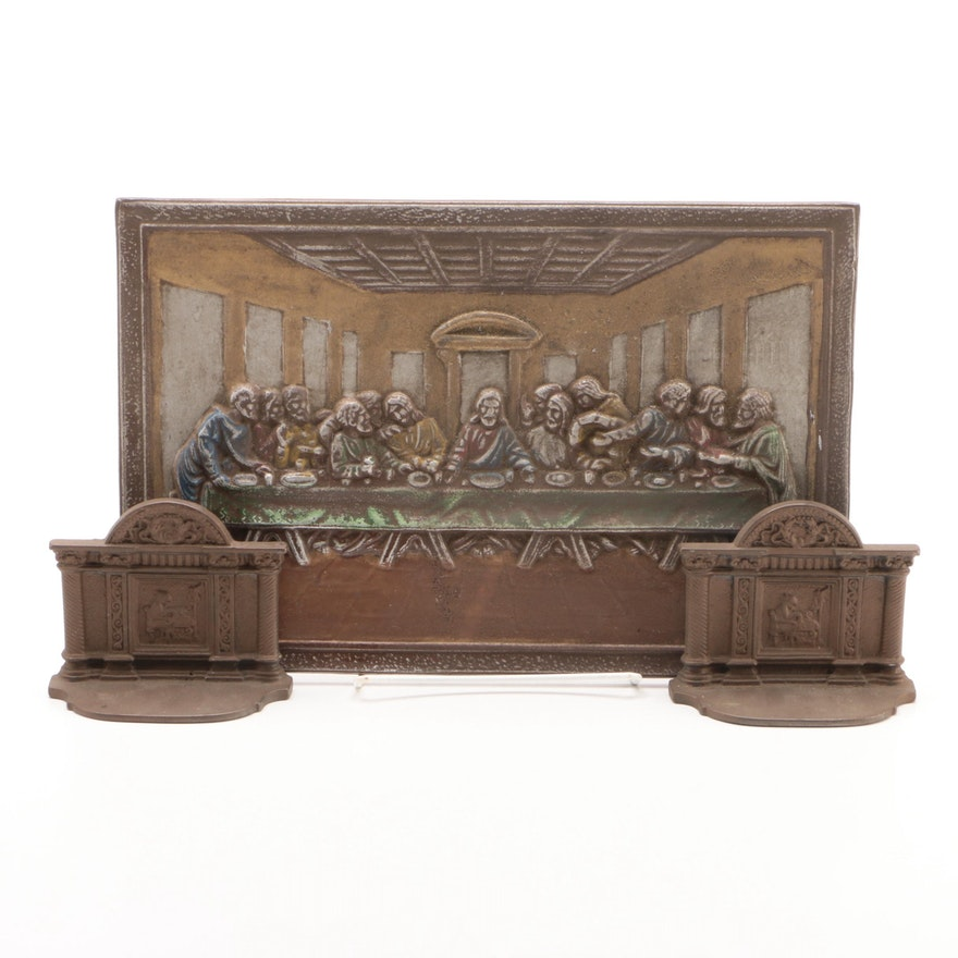 """Cast Bronze """"Last Supper"""" After DaVinci Hanging Wall Plaque and Bookends"""