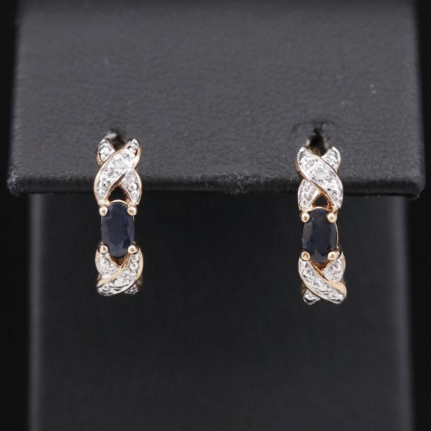 Sterling Silver Sapphire and Diamond J-Hoop Earrings