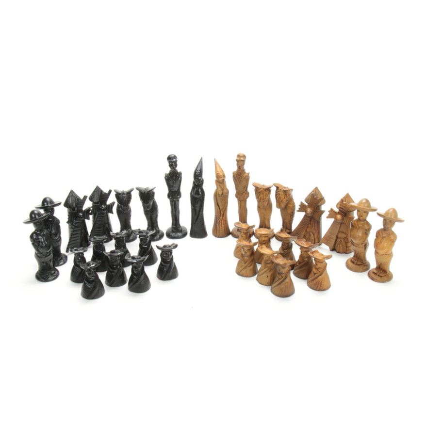 Don Quixote Spanish Carved Wood Chess Set