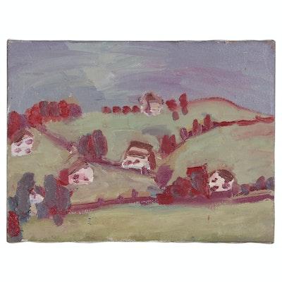Jerald Mironov Oil Painting of Hillside Village
