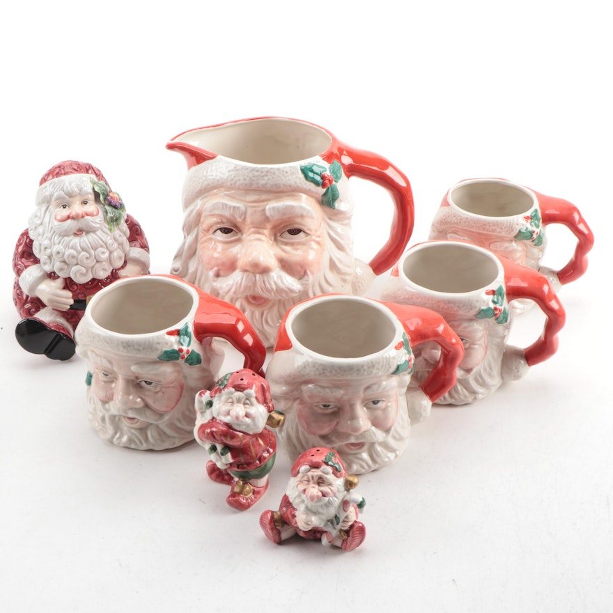 Fitz and Floyd Hand-Decorated Ceramic Santa Claus Tableware