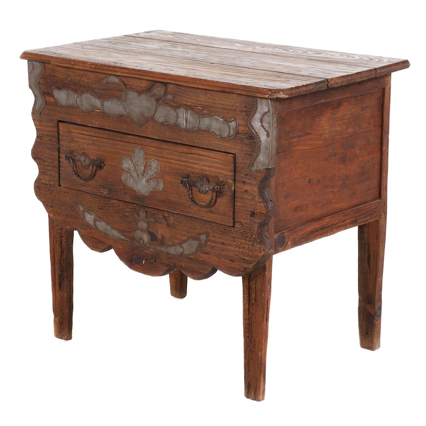 Primitive Tin-Decorated Pine Single Drawer Hall Chest