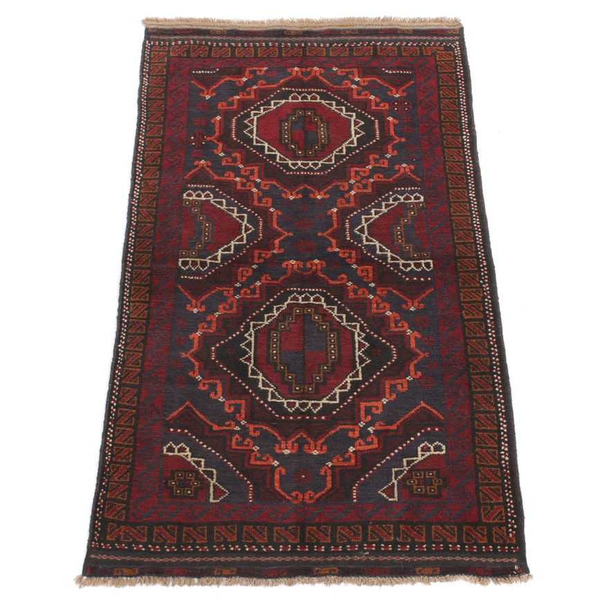 3'7 x 6'4 Hand-Knotted Persian Balouch Rug, 1970s