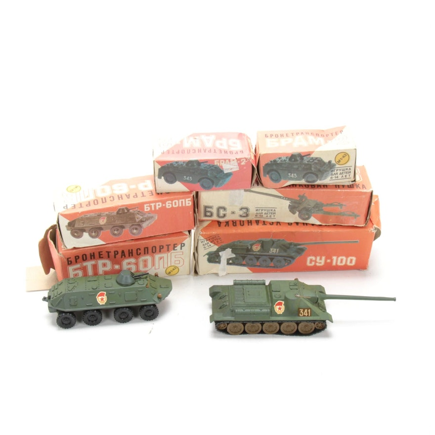 1970s Russian Military Vehicles, Armored Tanks with Artillery, 1:43 Scale
