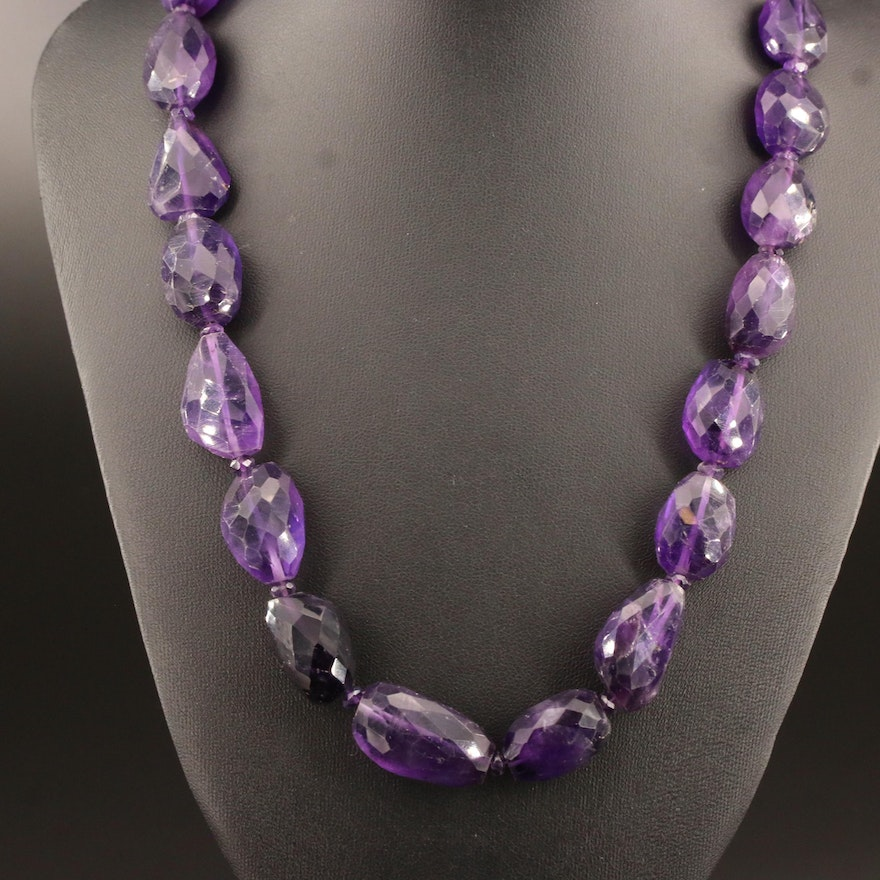 Beaded Amethyst Necklace with Sterling Silver Clasp